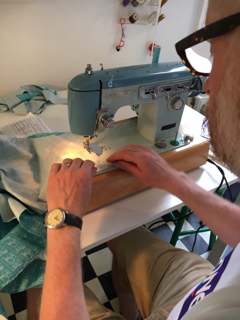 sewing with a vintage Brother sewing machine